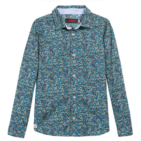 Catimini Boys Teal Floral Button Down Shirt - Cute Designer Children's Clothing