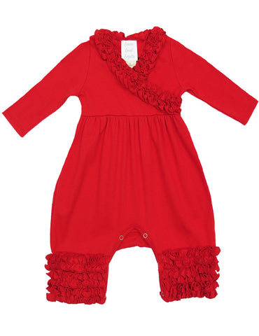 Lemon Loves Lime Layette Red Ruffle Olivia Romper