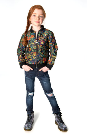 Appaman Girls Fall Dusk Flower Nikki Bomber Jacket