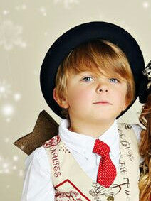 "Mustard Pie ""First Snow"" Holiday 2015 Boys Neck Tie - Cherry - Little Luna Blue  - 1"