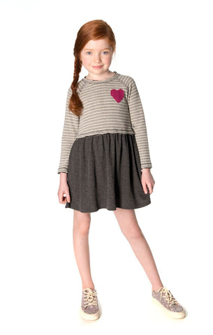 Appaman Girls Fall Slate Stripe Imogen Heart Dress