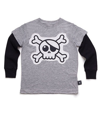 Nununu Heather Grey Skull Patch Tee