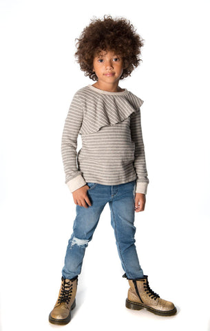 Appaman Girls Fall Slate Stripe Millie Top