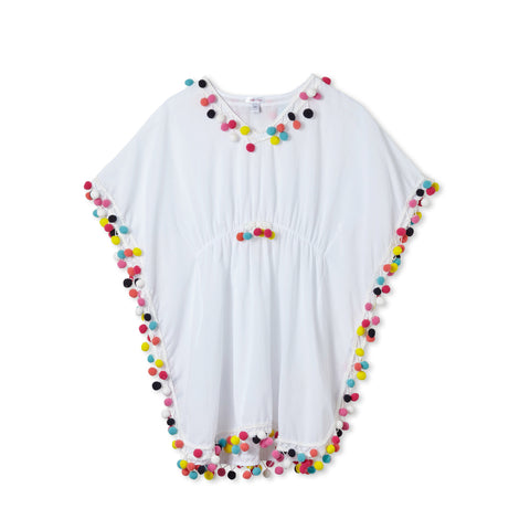 Stella Cove White Multi Pom Pom Poncho Coverup