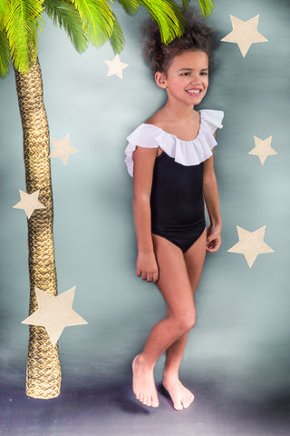 Stella Cove Black & White Ruffle Swimsuit