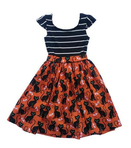 Fiveloaves Twofish Striped Kitties Maddie Dress