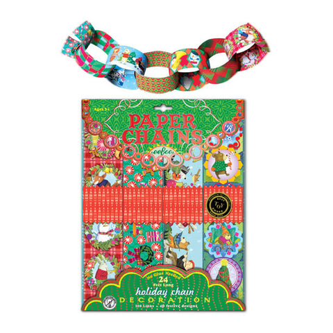 eeBoo Vintage Illustrated Christmas Holiday Paper Chains - Cute Designer Children's Clothing