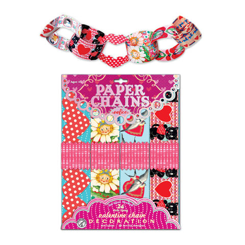 eeBoo Vintage Illustrated Valentine Hearts Paper Chains - Cute Designer Children's Clothing