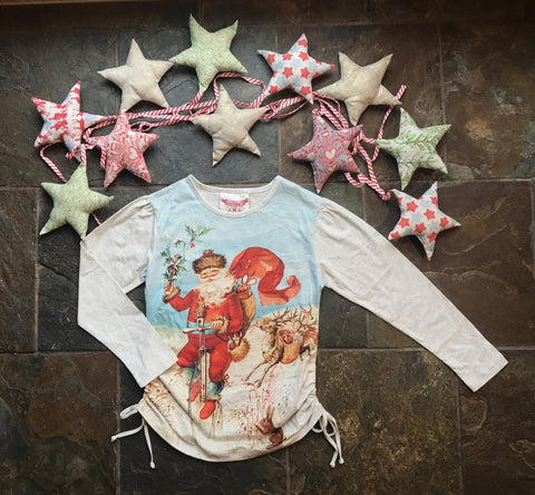 Paper Wings Holiday Magic Santa Drawstring Tee *EXCLUSIVE*