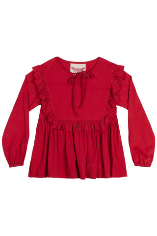 Paper Wings Fall 2017 Girls Red Knit Peasant Tee