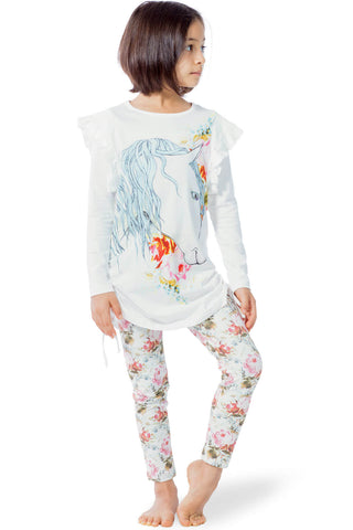 Paper Wings Fall 2017 Girls Rose Horse Drawstring Tunic