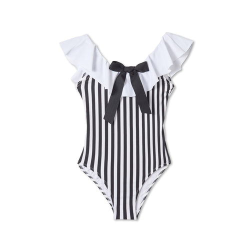 Stella Cove Black Stripe Bow Swimsuit