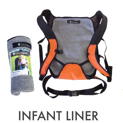 Bity Bean Compact Baby Carrier Fleece Liner - Grey - Cute Designer Children's Clothing