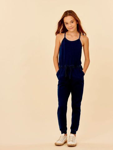 Habitual Girl Navy Loose Knit Lorrie Jumpsuit