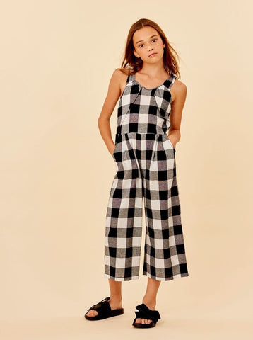 Habitual Girl Black Check Patricia Mock Wrap Jumpsuit