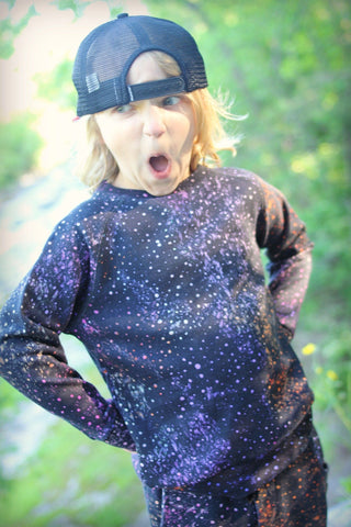 Munster Kids Boys Scribble Galaxy Crewneck Sweatshirt