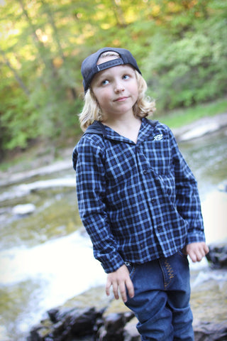 Munster Kids Boys Blue Check Hooded Huffle Shirt