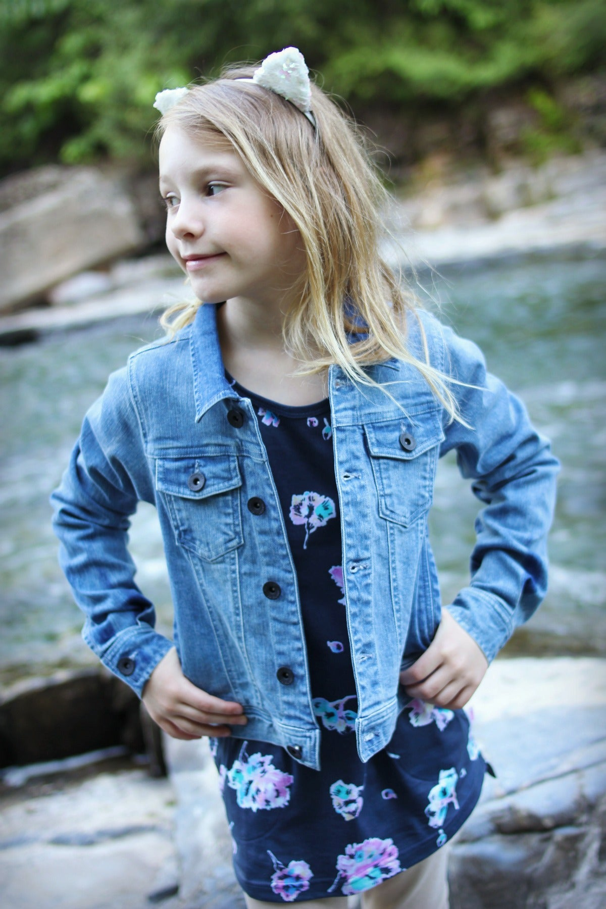 Missie Munster Kids Girls Evie Fray Denim Jacket Little Luna Blue
