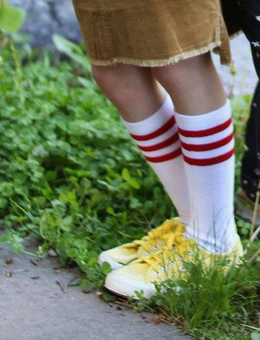Retro Vibe Red Striped Socks
