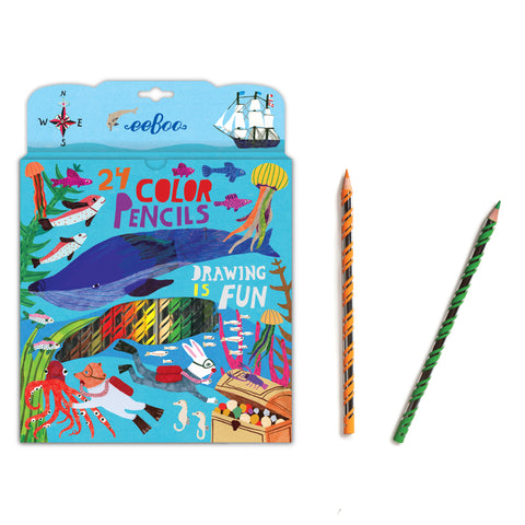 eeBoo 24pk In the Sea Colored Pencils - Cute Designer Children's Clothing