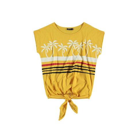 Yporque Yellow Palms Knot Top