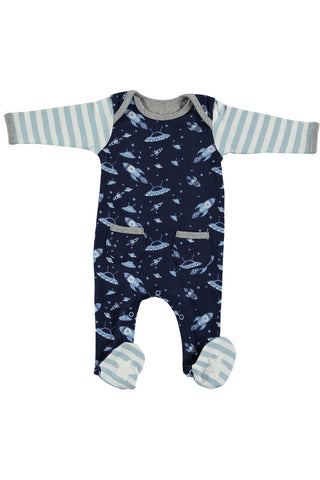 Rockin' Baby Flyin' Space Print Footie All In One - Little Luna Blue  - 1