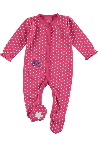 Rockin' Baby Poutin' Pink Spot Footie All In One - Little Luna Blue