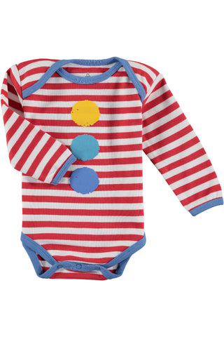 Rockin' Baby Bash Clown Striped Onesie - Little Luna Blue  - 1
