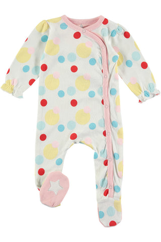Rockin' Baby Gigglin' Spot Footie All In One - Little Luna Blue