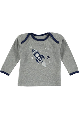 Rockin' Baby Rollin' Space Applique Tee - Little Luna Blue