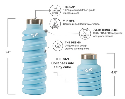 Que Bottle Iceberg Blue Collapsible Water Bottle