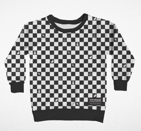 Tiny Whales Black & White Check Sweatshirt Top