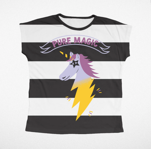 Tiny Whales Pure Magic Unicorn Striped Dolman Tee