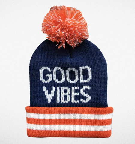Tiny Whales Good Vibes Pom Pom Beanie Hat