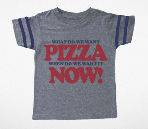 Tiny Whales Pizza Now Football Tee