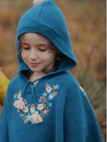 Louise Misha Peacock Blue Josefa Hooded Poncho