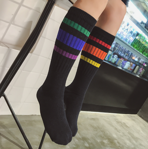 Retro Vibe Black Rainbow Socks