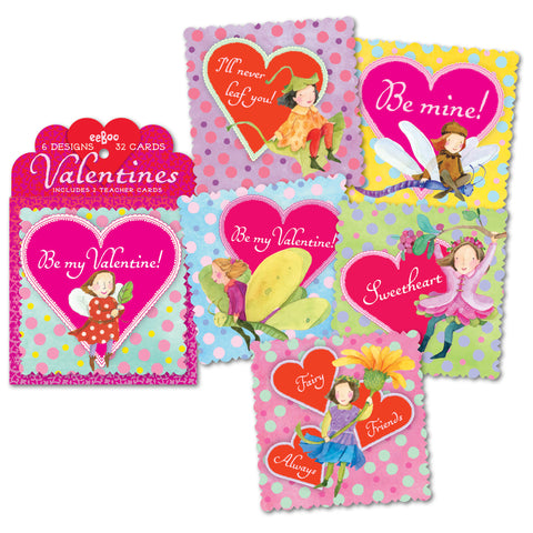 eeBoo Vintage Illustrated Valentine Fairy Cards - Cute Designer Children's Clothing