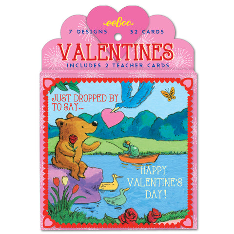 eeBoo Vintage Illustrated Valentine Park Friends Cards - Cute Designer Children's Clothing