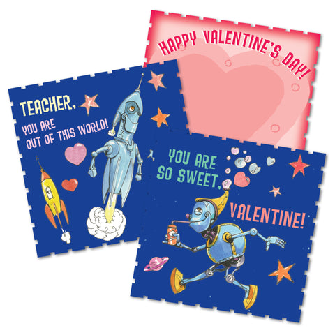 eeBoo Vintage Illustrated Valentine Space Friends Cards - Cute Designer Children's Clothing