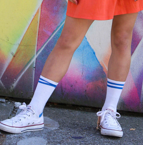 Retro Vibe Blue Striped Socks