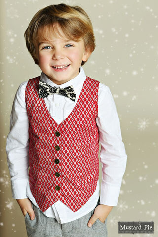 "Mustard Pie ""First Snow"" Holiday 2015 Boys Bow Tie - Black - Little Luna Blue  - 1"