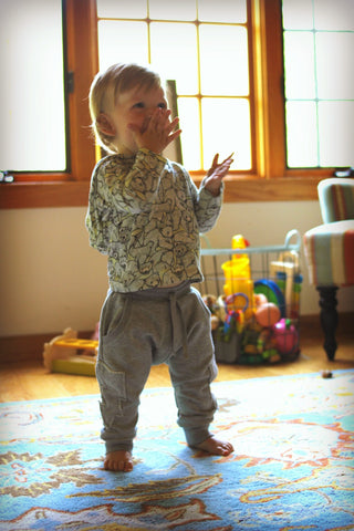 Little Wings Fall 2017 Boys Grey Applique Trackies