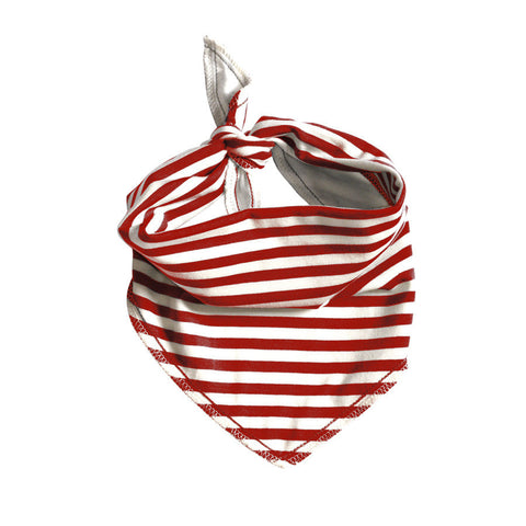 Electrik Kidz Barber Shop Red Stripe Bandana Bib - Organic Cotton - Cute Designer Children's Clothing