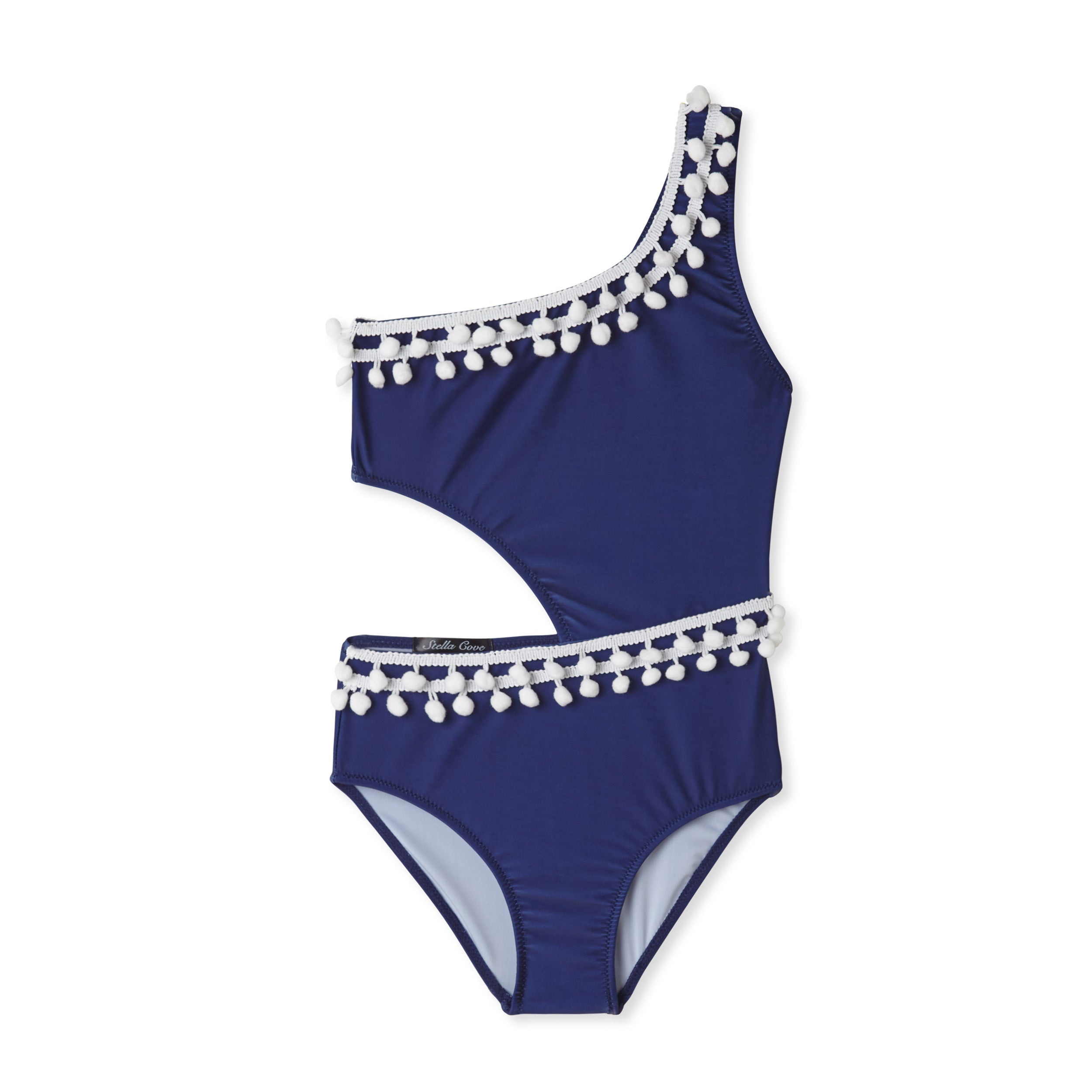06e022bbf4 Stella Cove Navy Pom Pom Cutout Swimsuit – Little Luna Blue