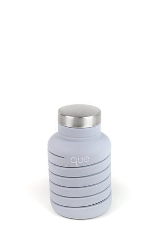 Que Bottle Cloudy Grey Collapsible Water Bottle