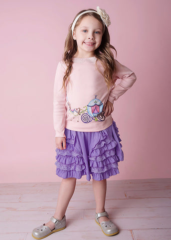 Lemon Loves Lime Girls Purple Haze Waltz Skirt - Little Luna Blue  - 1