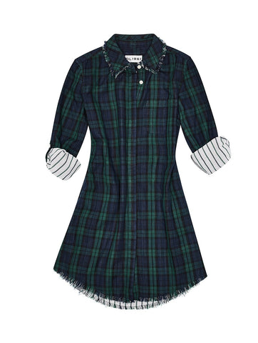 DL1961 Navy Plaid Lily Shirtdress