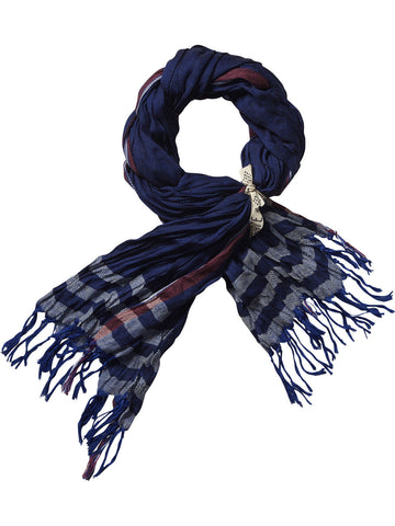 Scotch Shrunk Oversized Blue Plaid Scarf - Little Luna Blue