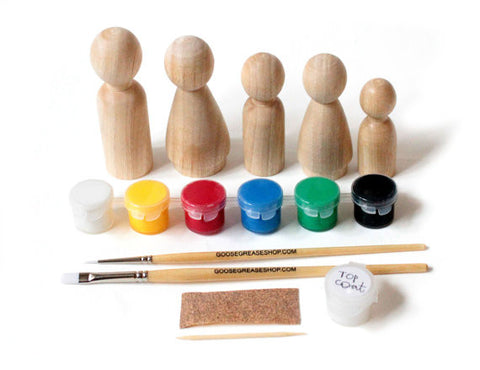 DIY Paint Kit Handmade Wooden Peg Doll Set